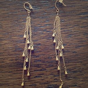 Hanging antiqued gold earrings